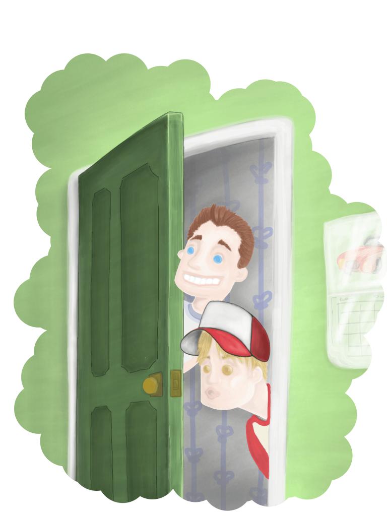 Two heads pop around door