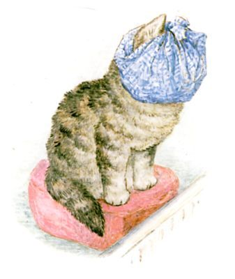 Miss Moppet ties up her head in a duster, and sits before the fire.