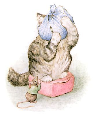 Miss Moppet holds her poor head in her paws, and looks at him through a hole in the duster.