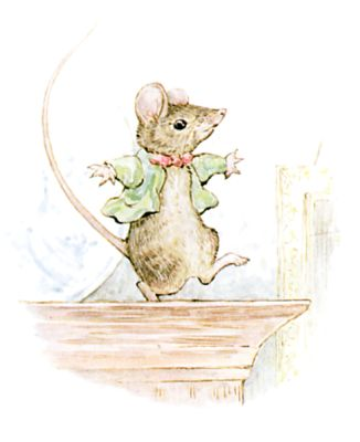He has wriggled out and run away; and he is dancing a jig on the top of the cupboard!
