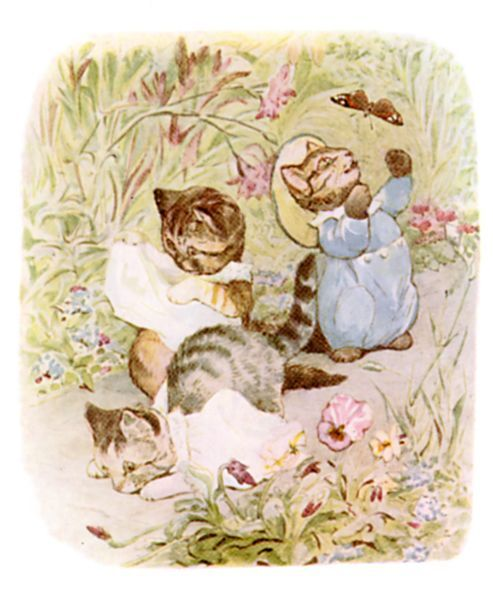 Moppet and Mittens walked down the garden path unsteadily.