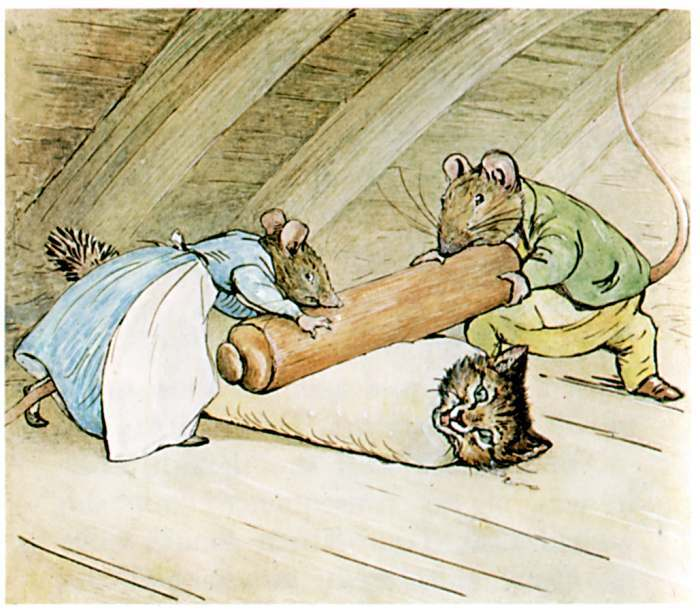 The rats are rolling Tom with a rolling-pin!