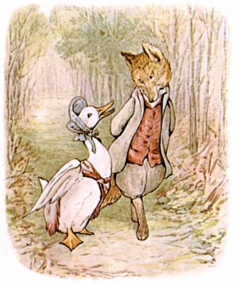Jemima Puddle-Duck with the helpful gentleman