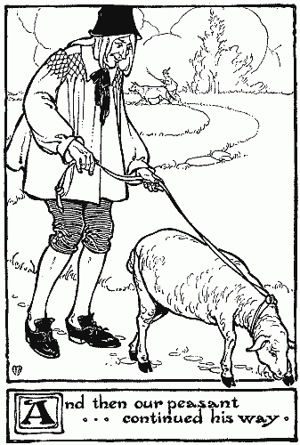 Peasant heads off with sheep