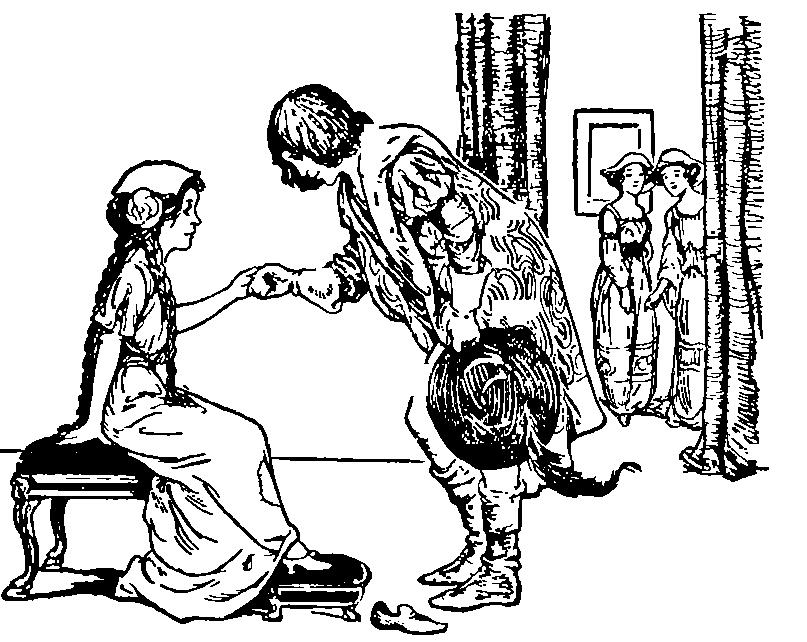 Cinderella tries on the slipper