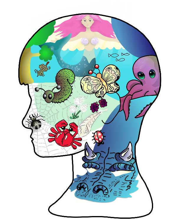 Illustration of head filled with all sorts of bugs, animals, fish, even a mermaid!
