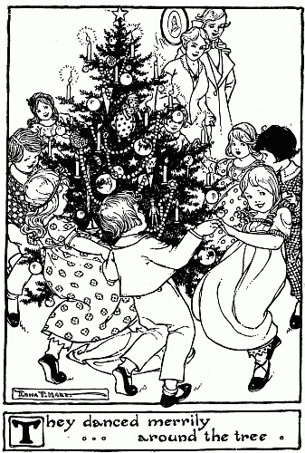 """Children dancing around a Christmas tree for Hans Christian Andersen's story """"The Fir Tree"""""""