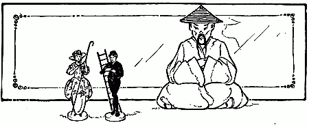 The Shepherdess and the Chimney Sweep with Chinaman ornament looking on