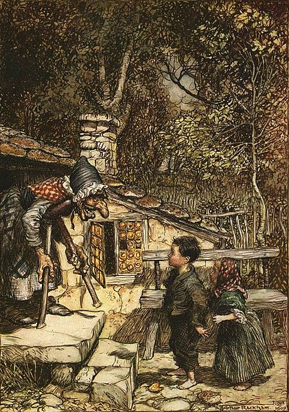 Hansel and Gretel meet the witch