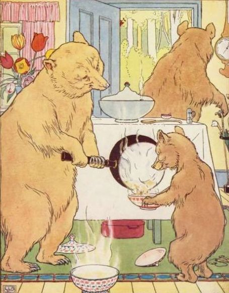 Goldilocks and the Three Bears - bears making porridge
