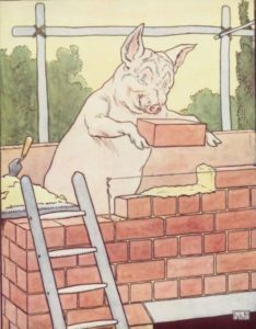 Pig builds a brick house from Three little pigs