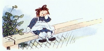 Raggedy Ann and the Chickens - sitting on the chicken coop fence