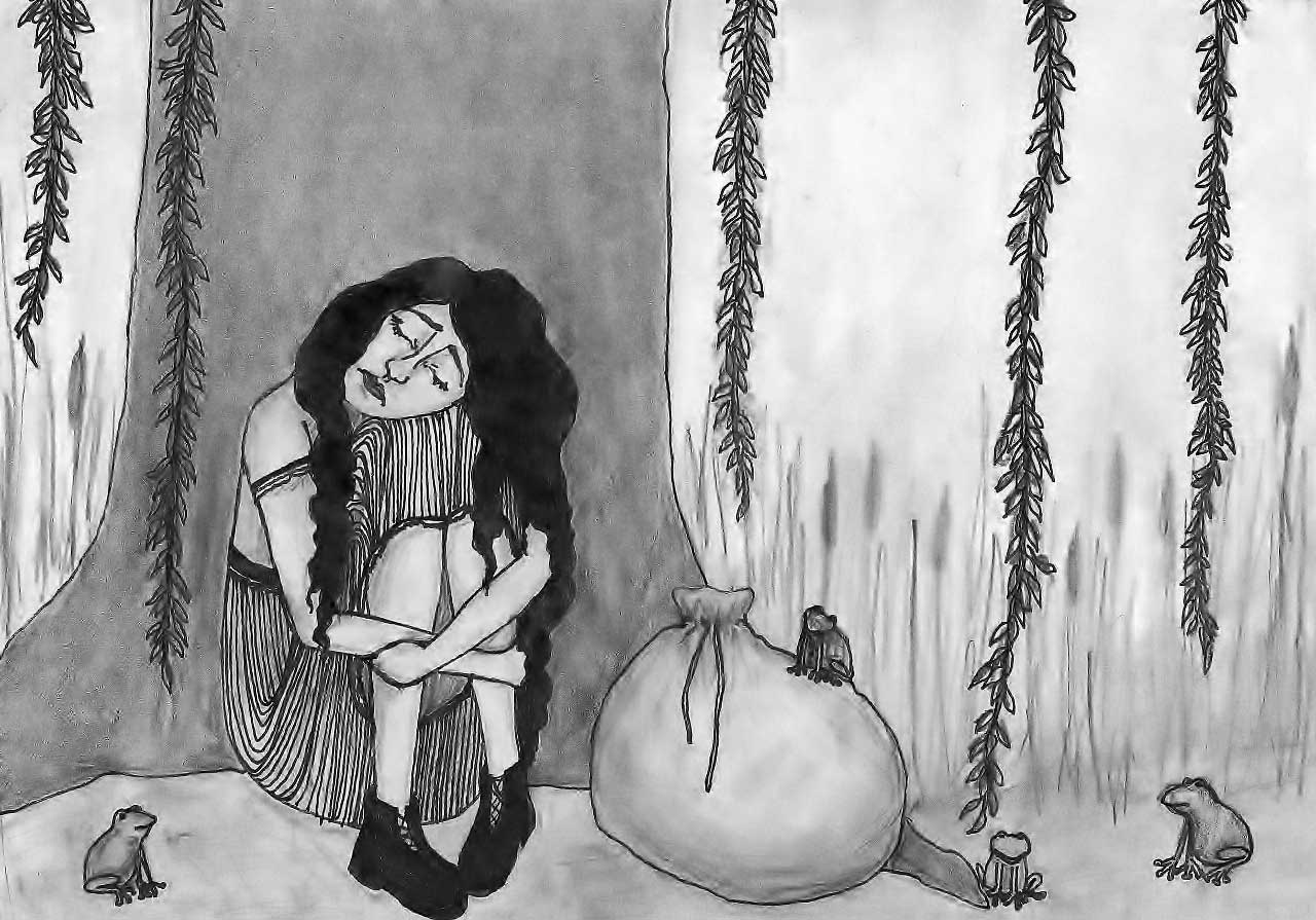 Beautiful Wild Rose Girl illustration girl under tree