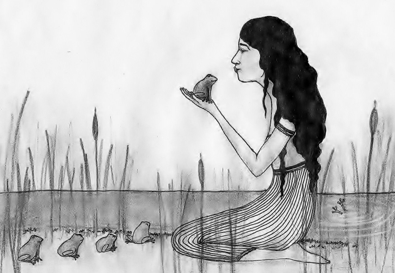 Beautiful Wild Rose Girl kissing a line of frogs