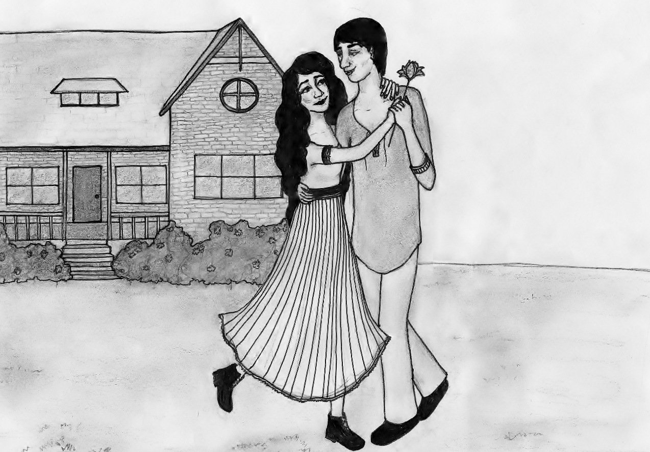 Girl and boy dancing happily in front of their house