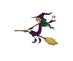 small witch on broom