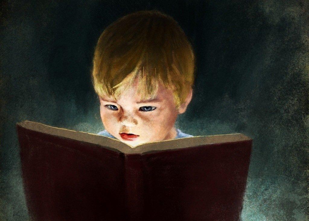 Jeremy Norton Illustration - young boy reading book