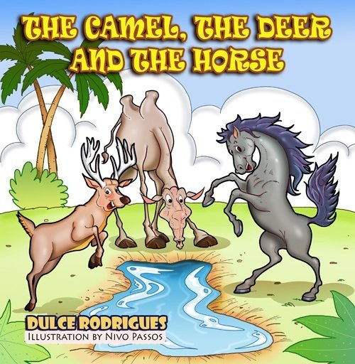 A camel, a deer and a horse by a watering hole.