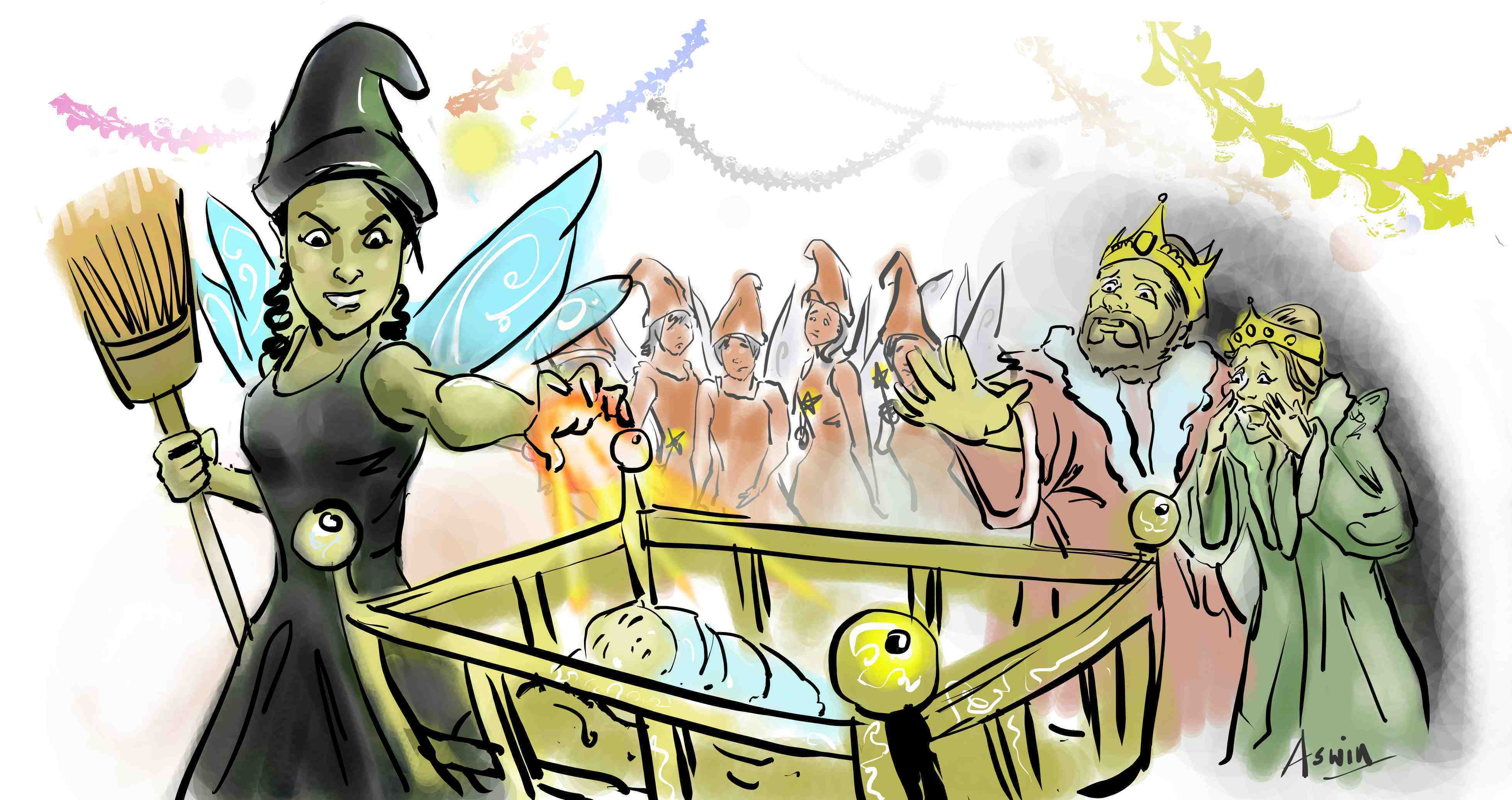 Disgruntled fairy dressed in black casts spell on Sleeping Beauty who is lying in cot. Anguished king and queen in background with other good fairies.
