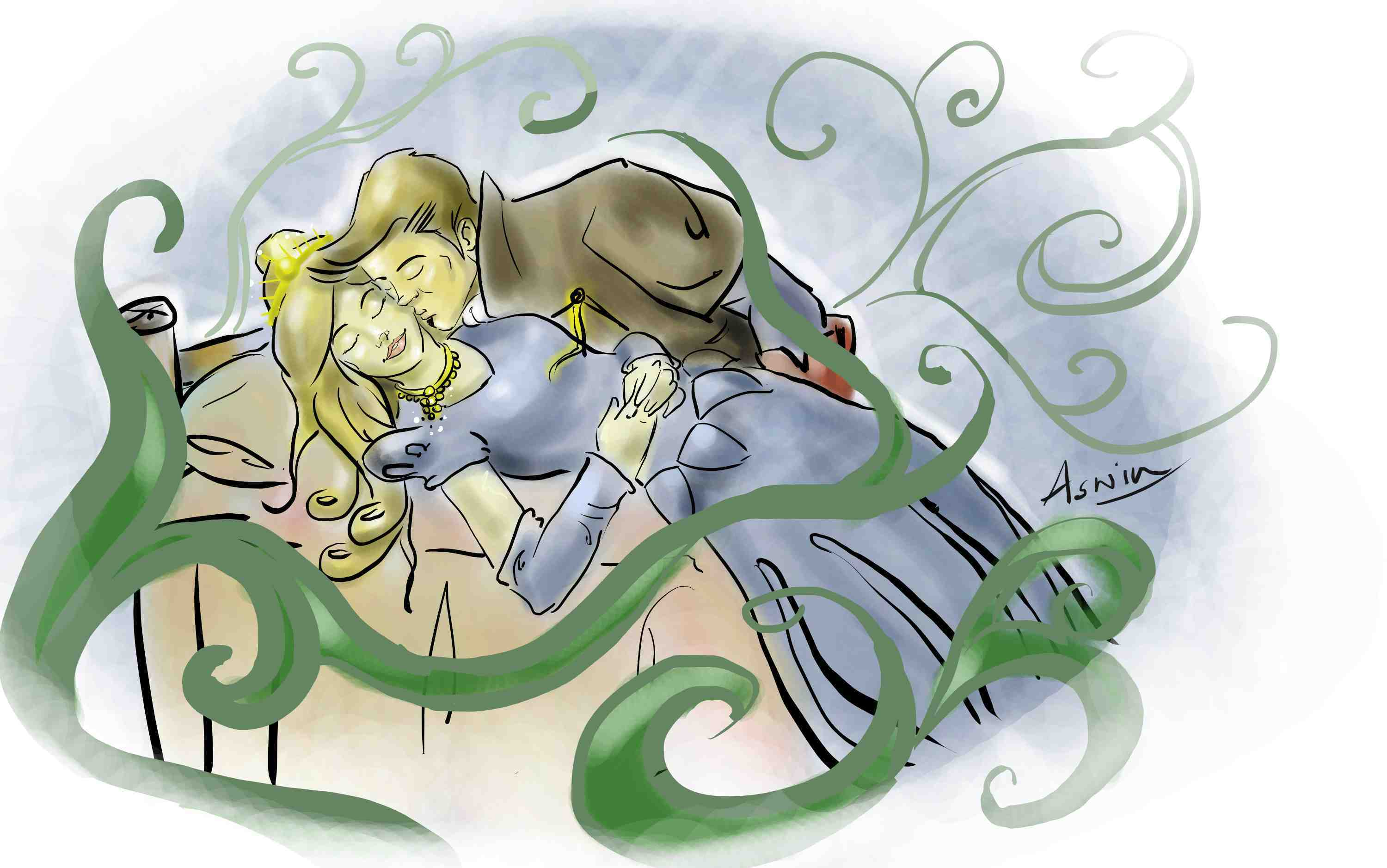 Handsome prince kissing Sleeping Beauty to wake her up.