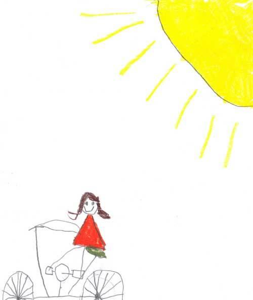 Annika on bike with sun shining