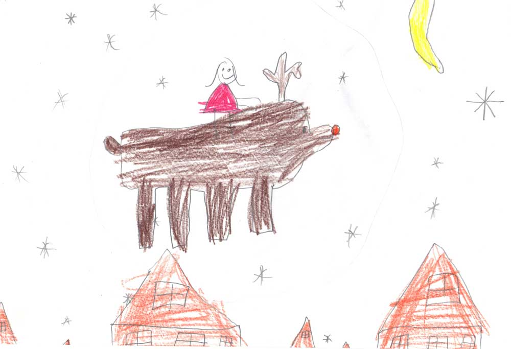 Annika on Rudolph in the sky