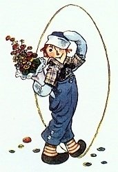 Raggedy Andy with flowers