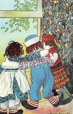 Raggedy Andy looking out of window with arms around two other dolls seeing the coast is clear to make Taffy