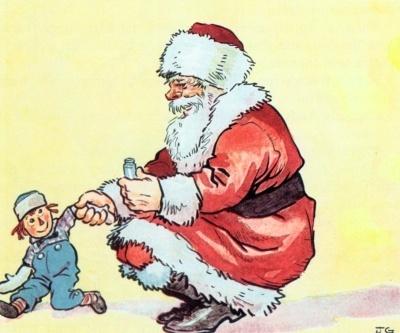 Santa repairs Raggedy Andy
