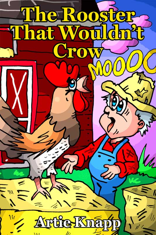 Farmer with rooster that moos instead of crows