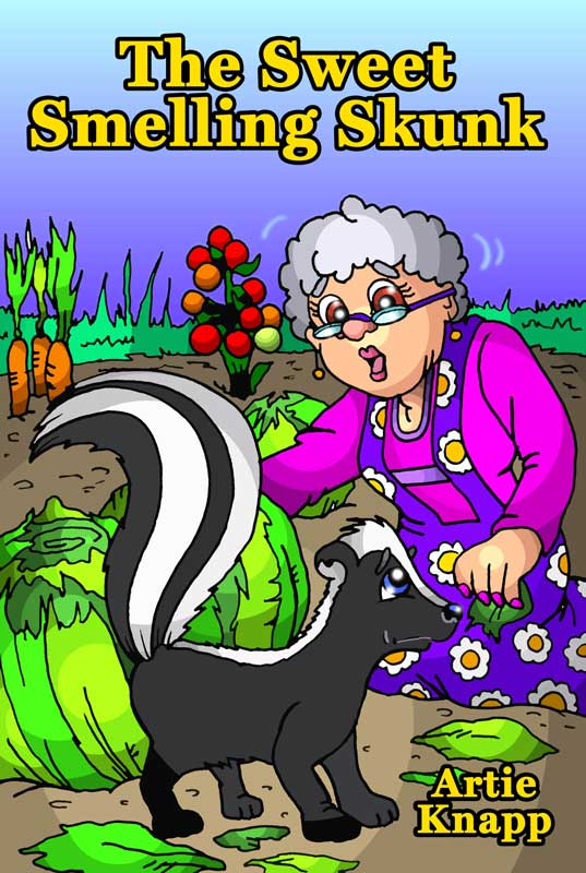 The skunk with Mrs Donnelly in her garden