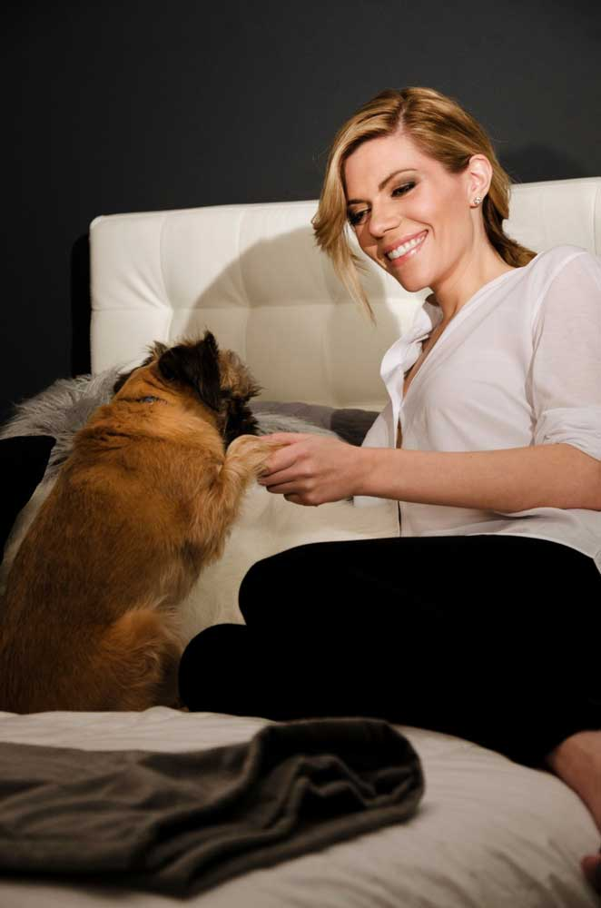 Rebekah Phillips - author and illustrator with her dog