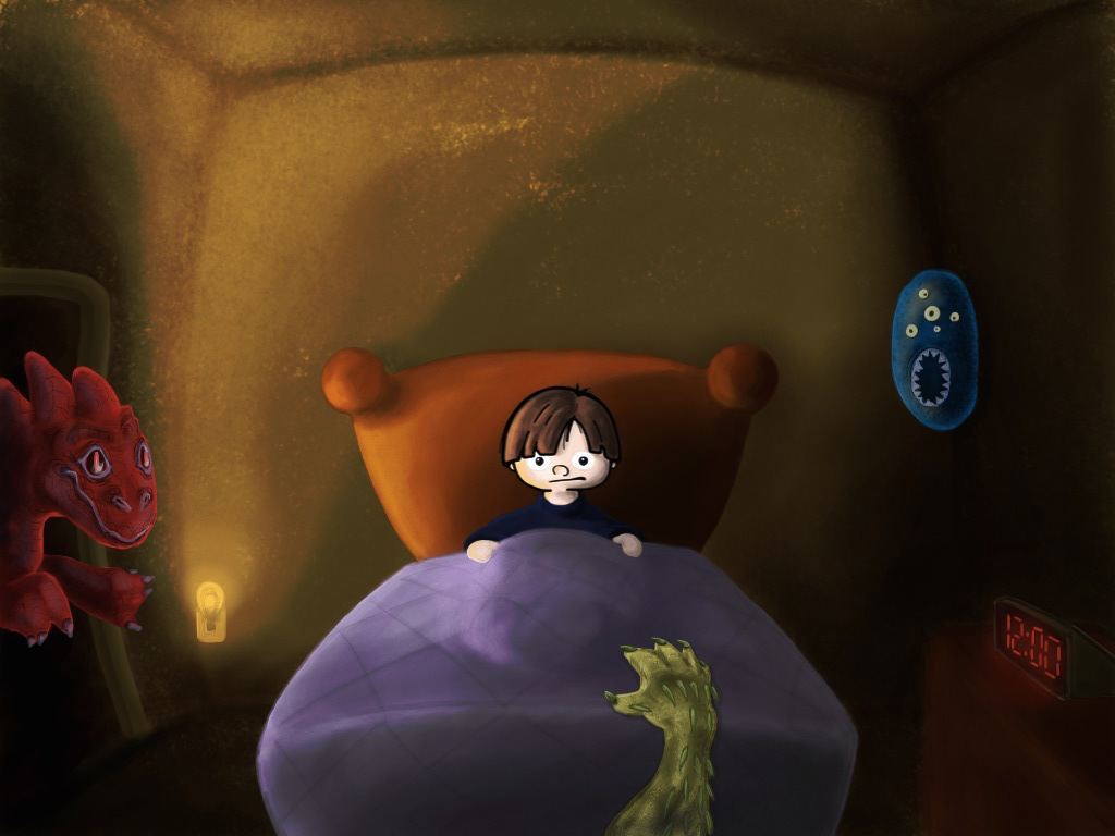 Lid in bed with monsters around