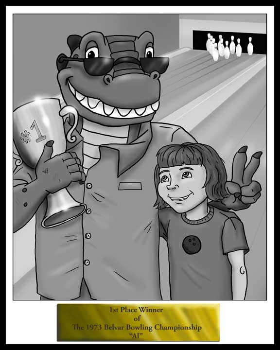 Photo of Alligator Al with bowling trophy and girl