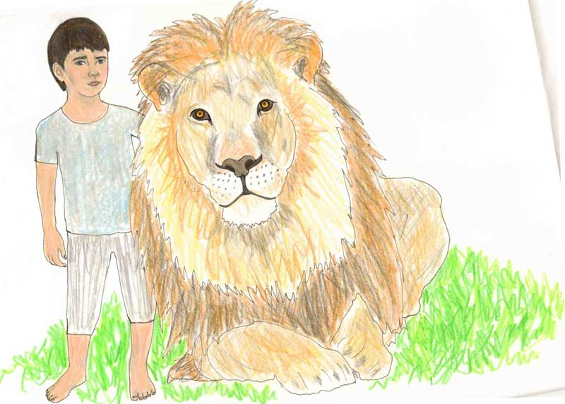 Lion and Boy by Jamila Keba