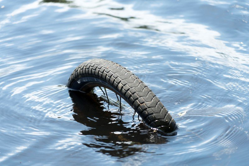 bicycle tyre in the water