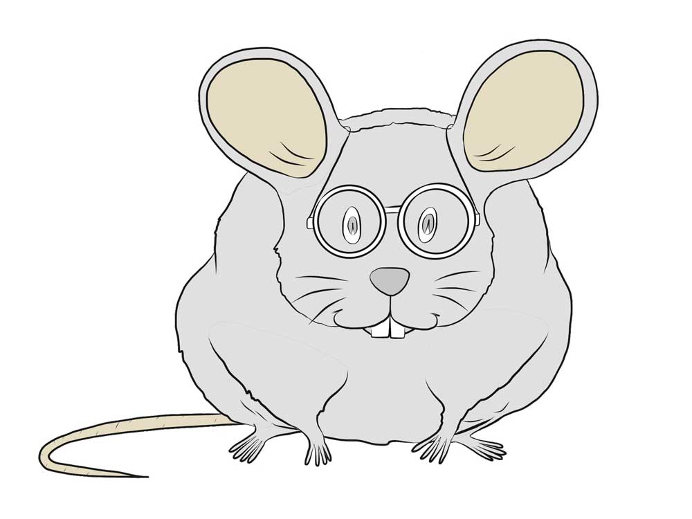 Illustration of a mouse with glasses