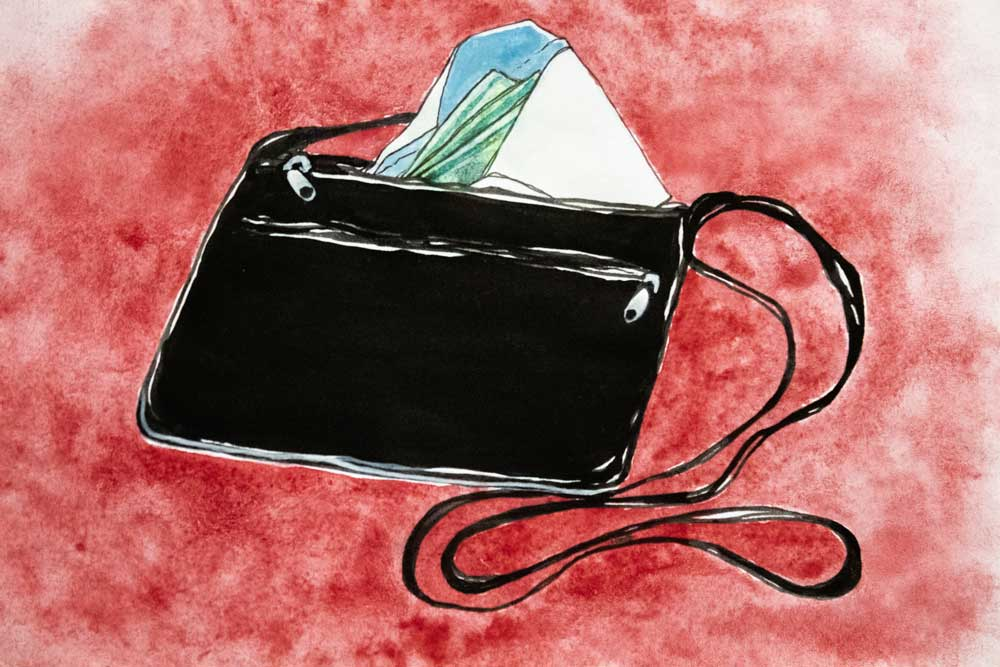 Purse with envelope sticking out - Illustration by Hannah Gruber
