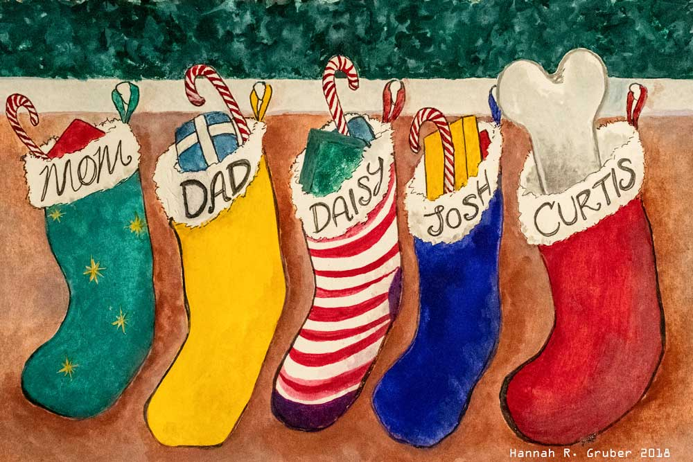 Illustration of Christmas stockings hanging, by Hannah Gruber