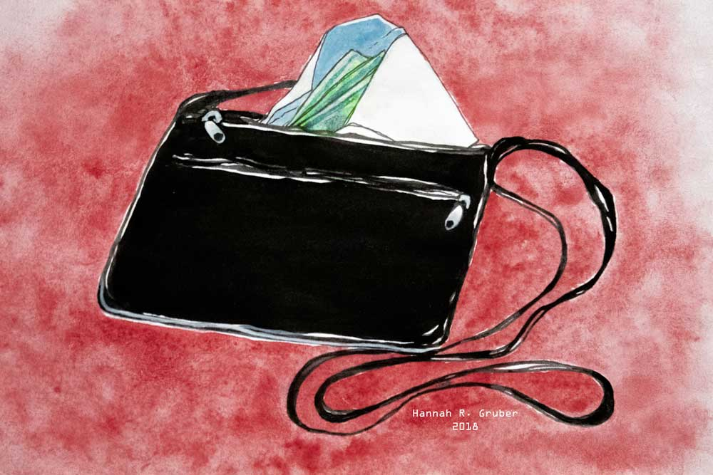 Illustration of a purse, by Hannah Gruber