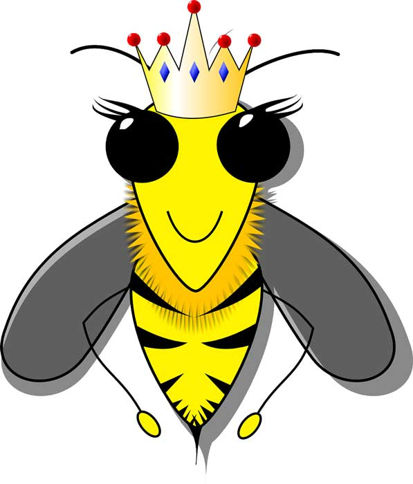 Bee with crown and wearing sunglasses
