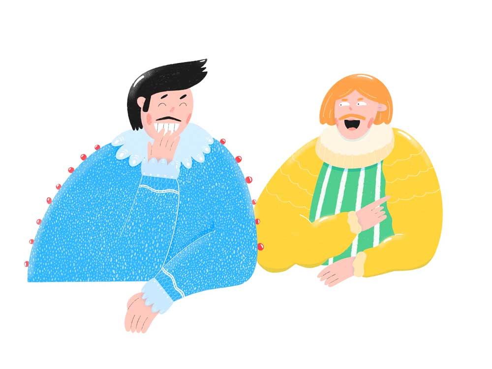 Illustration by Yulia Sirotina of the two swindlers having a laugh