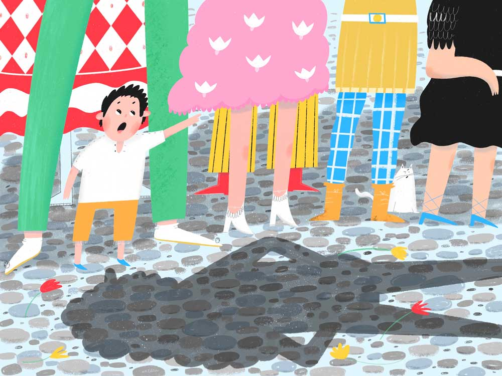 Small boy in the crowd points at the Emperor and says he is naked. Illustration shows shadow of emperor on the ground. By Yulia Sirotina.