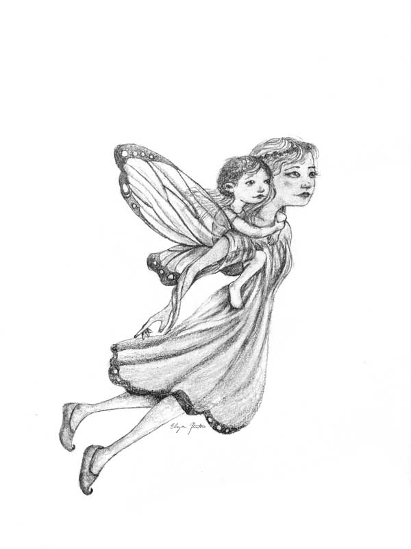 flying fairy carrying child on her back