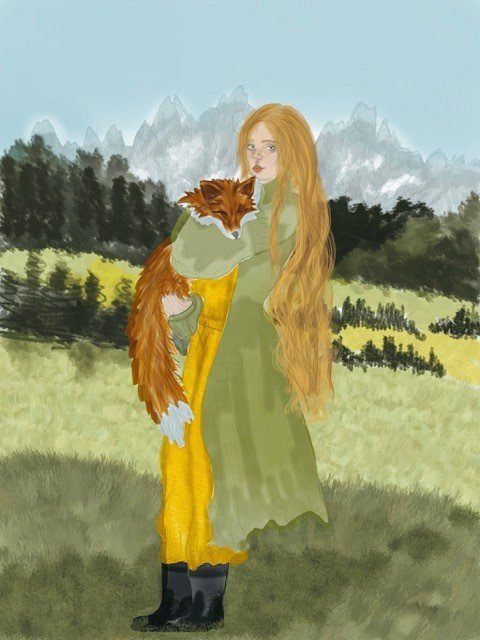 Girl holding fox